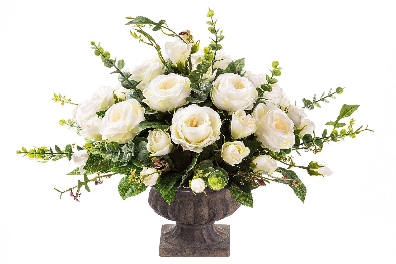Klassiker 30 cm K/ünstliche Blumen Arrangement aus Unechte Blumen Zur Wohnungsdekoration Zur Hochzeit Cremefarbene Rosen mit Eukalyptus