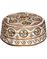 Muslim Prayer Cap Kufi Topi with Brown Beautiful Round Shaped Embroidery