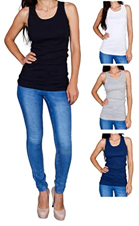 ac0a07cf5670f2 Emprella Tank Tops for Women 3 Pack Assorted Ribbed Racerback Tanks ...