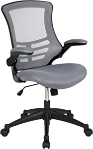Flash Furniture Mid-Back Dark Gray Mesh Swivel Ergonomic Task Office Chair with Flip-Up Arms, BIFMA Certified