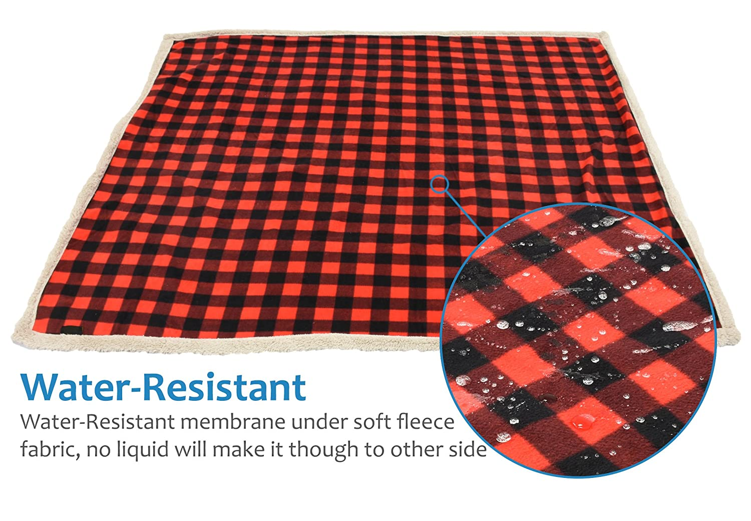 Pawsse Waterproof Dog Blanket,Pee Proof Pet Blankets Cover for Couch Bed Sofa,Reversible Furniture Protector Sherpa Cushion Mat for Small Medium Large Dogs Puppy Cat