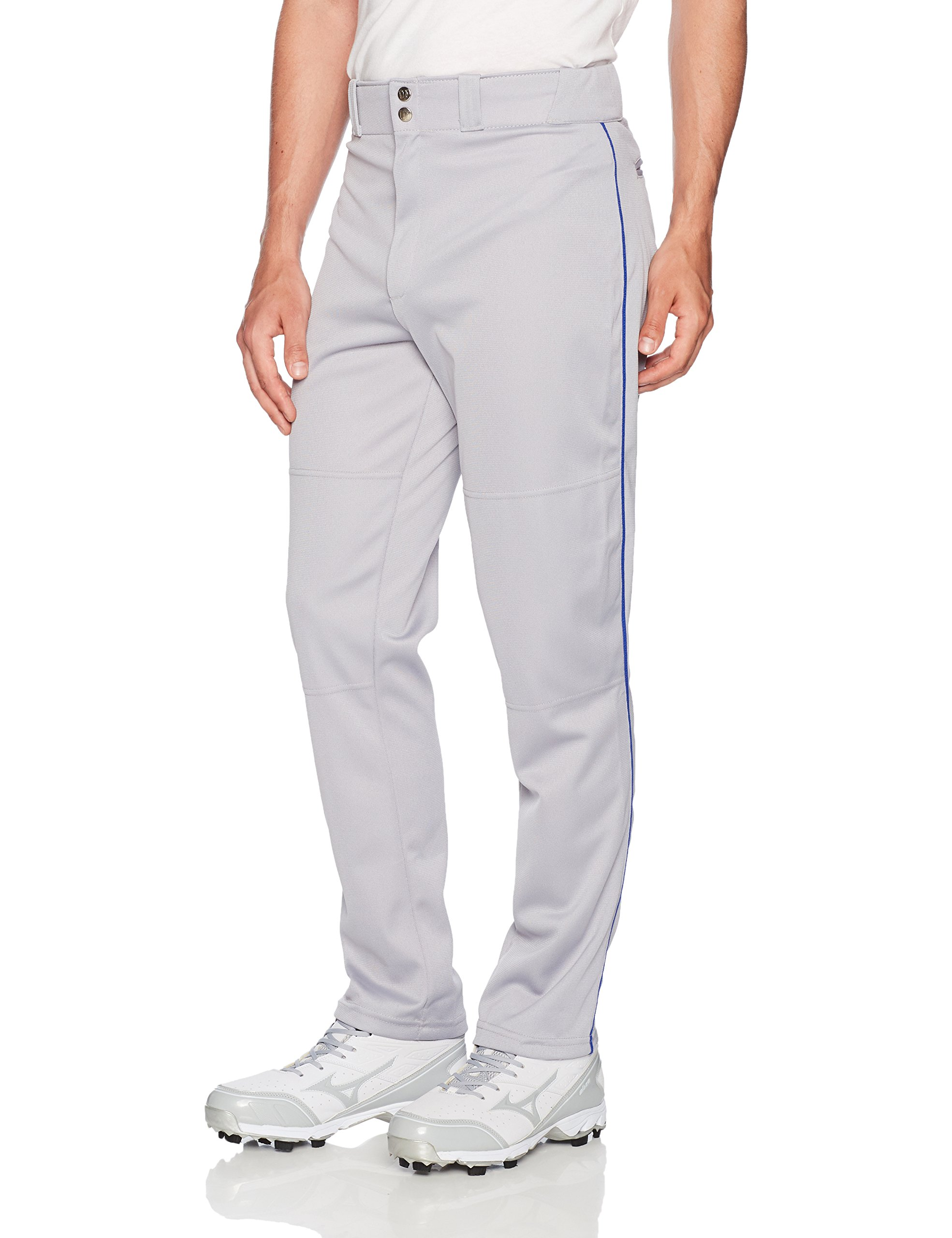 Wilson Men's Classic Relaxed Fit Piped Baseball Pant, Grey/Royal, Large by Wilson