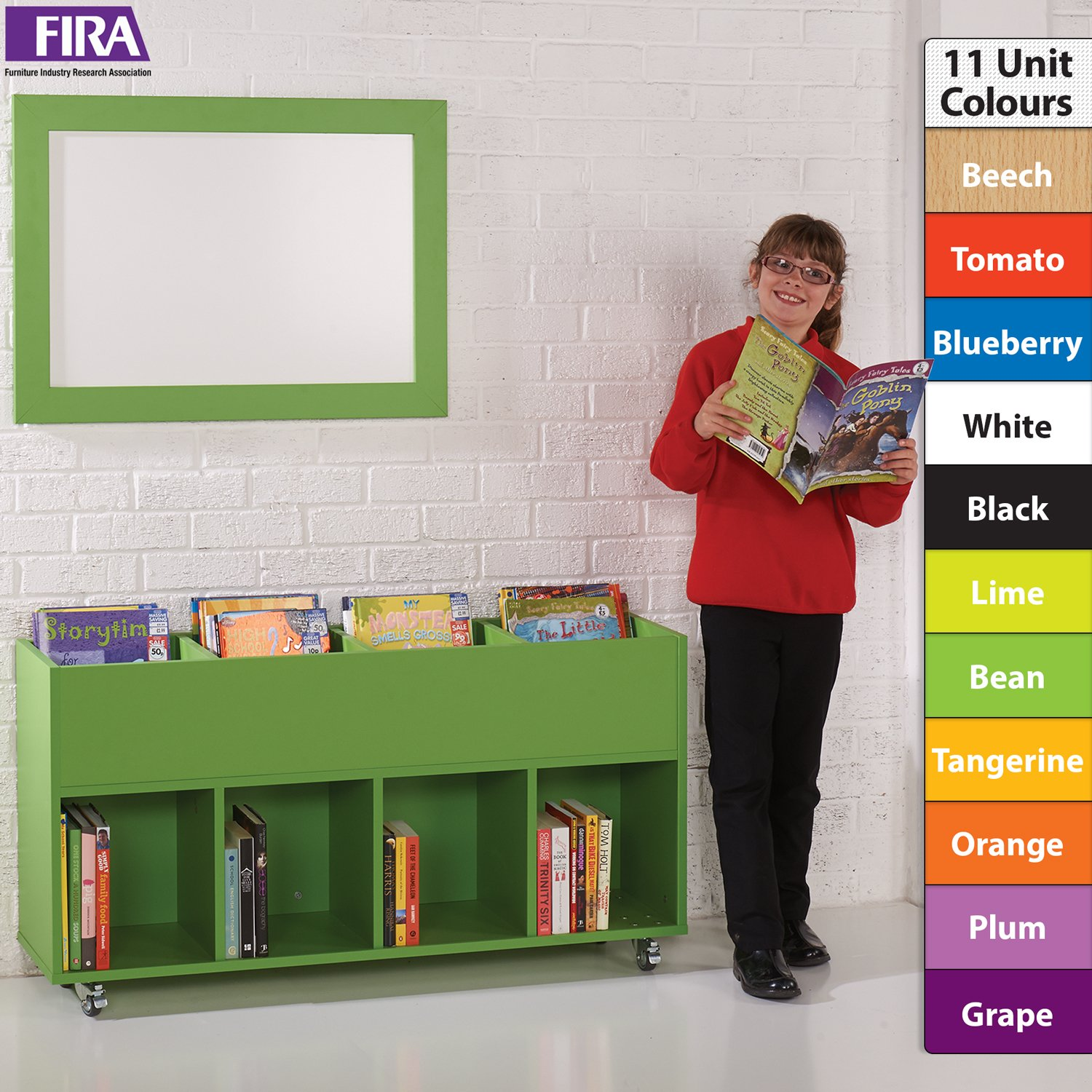 Colourbox Slimline Kinderbox School Mobile Tray Storage/Book Trolley Unit with 8 Compartments to Store Books, Toys - 11 Unit Colours, incl. (Tomato) Wonderwall Products Ltd