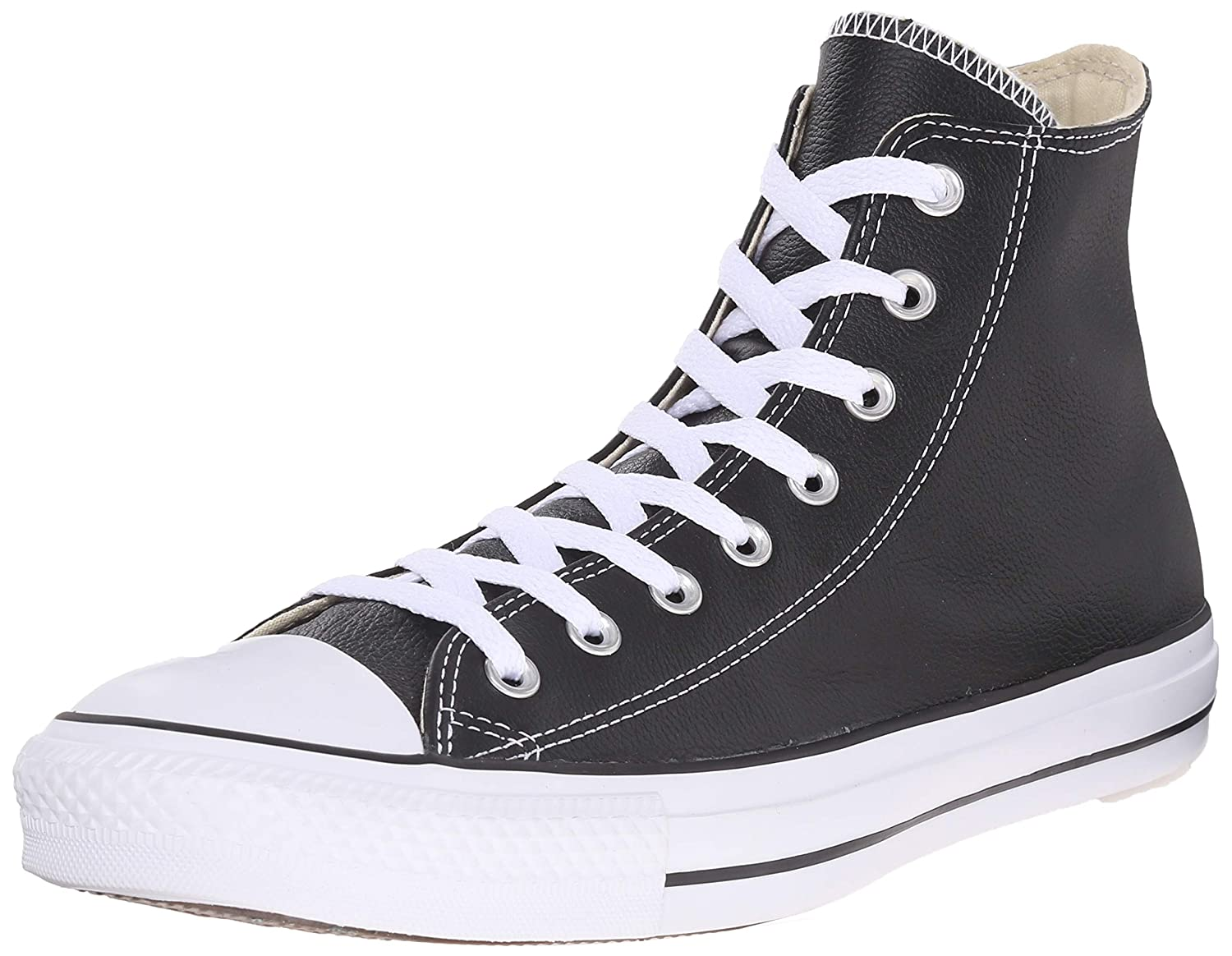 Black   Black   Papyrus Converse Women's Chuck Taylor All Star Leather High Top Sneaker