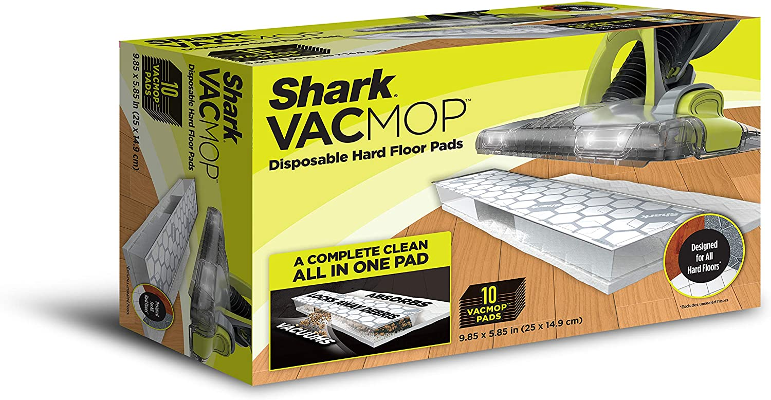 Shark Disposable Hard Floor Vacuum and Mop Pad 10 Count VACMOP Refill, White