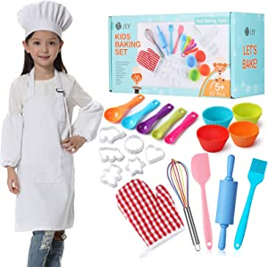 Kids Baking Set 32 Pcs Includes Kids Chef Apron & Hat, Cookie Cutter, Oven Mitt, Real Baking Tools with Rolling Pin for Kids - Kids Silicone Baking Set for Children Gift Boys & Girls (for Age 5+)