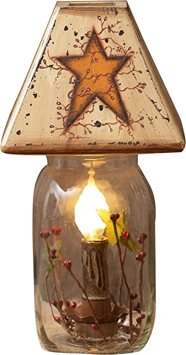 "Your Heart's Delight 5.25""x11""x5.25"" Primitive Star Electrical Jar Light"