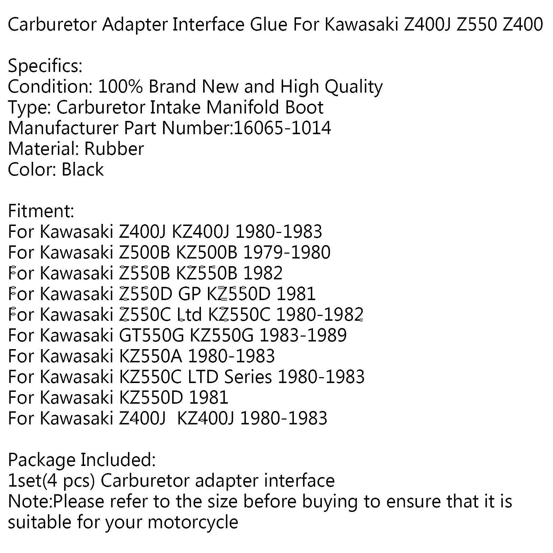 porta carburatore 4 pezzi Artudatech Interfaccia adattatore carburatore per moto collettore di aspirazione per Kawasa-ki GT550G KZ 550 A//C//D Z400J