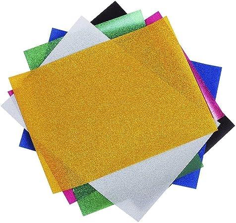 foundove transferencia de calor de vinilo con purpurina, varios colores hojas de transferencia hierro en vinilo para decoración de silhouette Cameo, Cricut camiseta HTV 6 hojas A4: Amazon.es: Hogar
