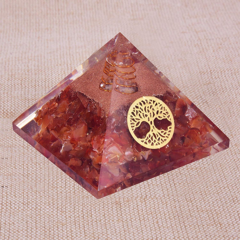 Natural Crystal Carnelian Orgone Pyramid Energiepyramide mit EMF-Schutz f/ür Heilmeditation Ausgleich der positiven Energie Baum des Lebens