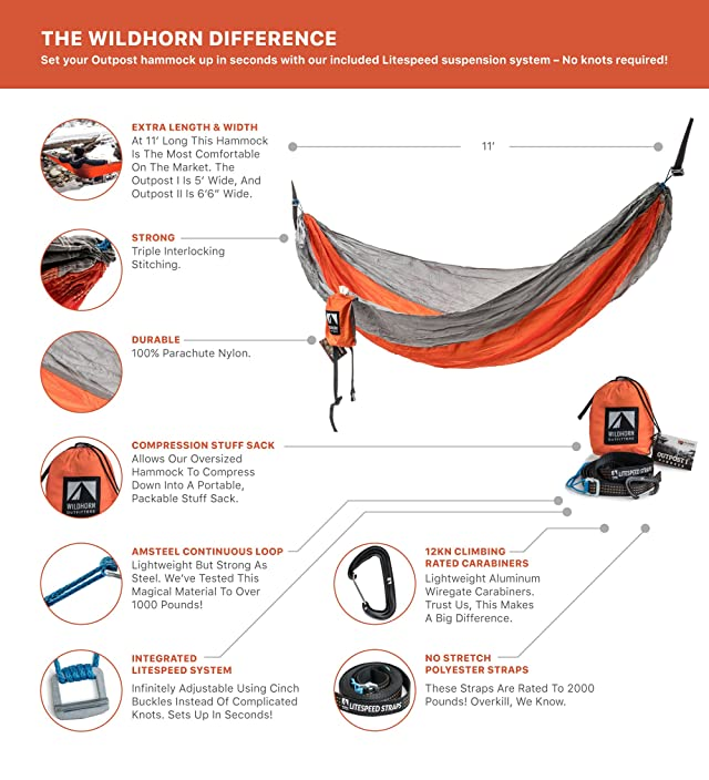 Outpost Double/Single Camping Hammock With 11' Tree Straps - 100% Parachute Nylon - Cinch Buckle Design, No Knots Required