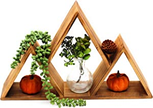 EverPine Mountain Floating Wall Shelf | Premium Real Pine Wood Home Shelving | Rustic Triangle Design for Home, Cabin, Bedroom, Nursery, Children, Living Room Shelves Decor (Light Brown)