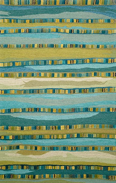 Awesome Liora Manne Seville Mosaic Stripe Hand Tufted Rug, 5 By 8 Feet, Blue