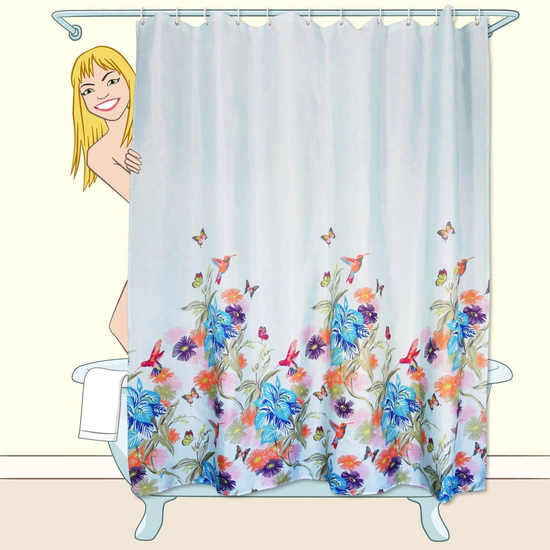 Blue Orange Flowers Birds Butterflies Shower Curtain U0026 Hooks Anti Bacterial  Set
