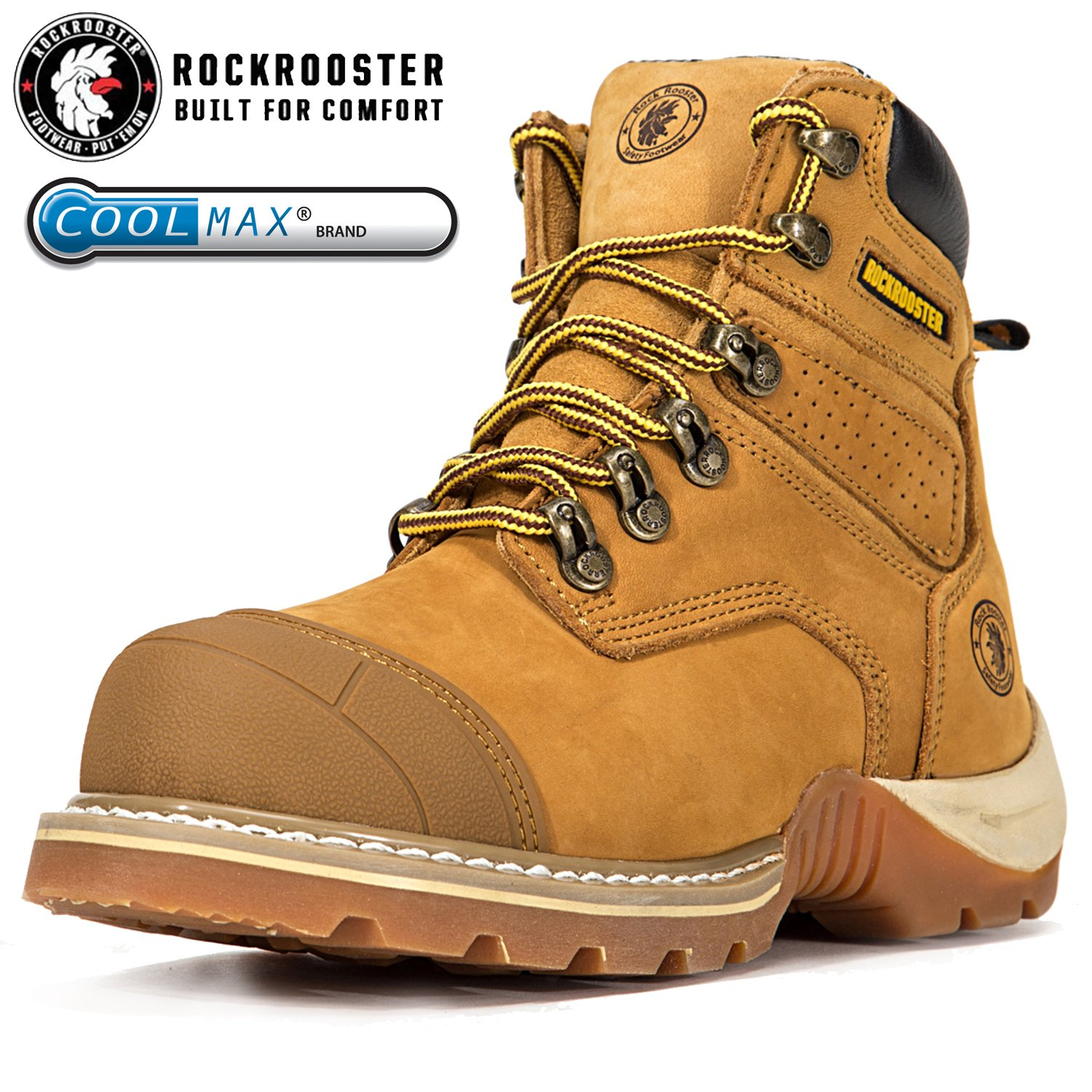 ROCKROOSTER Men's Work Boots, Composite Toe, Safety Water Resistant Leather, Women Shoes, Width EE-Normal (AP268, US 6)