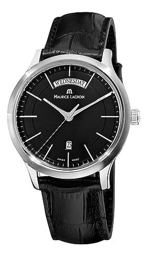 Maurice Lacroix Men s LC1007-SS001330 Les Classiques Quartz Black Day Date Dial Watch