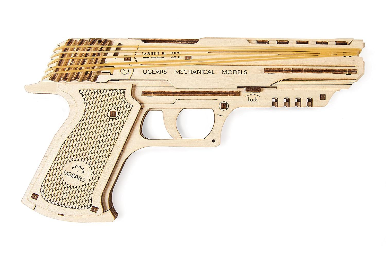 UGEARS Wolf-01 Handgun Wooden Mechanical 3D Brainteaser, Best Gift Puzzle for Adults and Teens