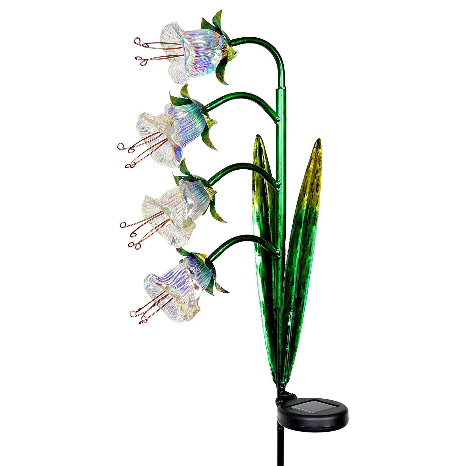 Exhart Solar Cascading Bluebell Flowers Yard Stake in Iridescent Glass Bluebell Decor 3.5 L x 8 W x 33.5 H Bluebells Light Stake Glass Flowers Bluebells Metal Stake w//Solar Outdoor Lights