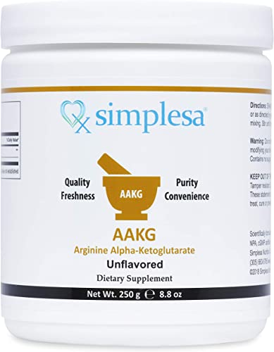 SIMPLESA NUTRITION AAKG Powder, 1 1 Ratio of Arginine - Alpha-Ketoglutarate, Made in USA, 2,000 mg per Serving, Non-GMO, 250 Grams.