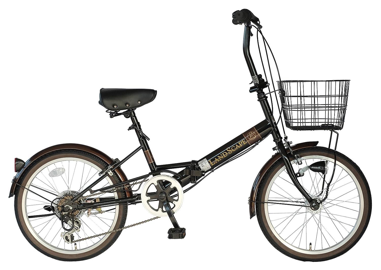 武田産業 フォールディングバイク LAND SCAPE(ランドスケープ) [外装6段変速 フロントバスケットLEDオートライト付き] FDQ-B206LS B06W9J6F7W ブラック ブラック