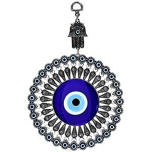 Erbulus Turkish Big Glass Blue Evil Eye Bead Home Protection Charm with Hamsa Keychain Gift - Hanging Ornament Wall Decor