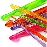 Luxbon Pack Of 9 Sizes Multi coloured Acrylic Plastic Crochet Hooks Set 3mm-12mm Knitting Crocheting Starter Pack