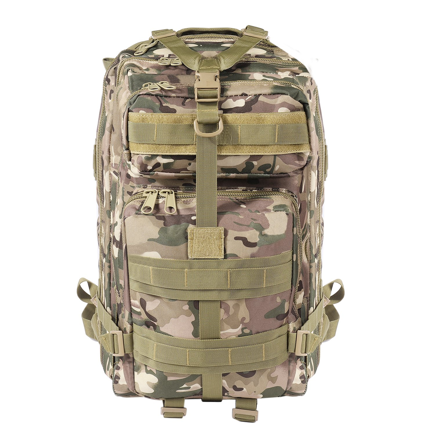 Flexzion Tactical Backpack Marshland Camo Large Army Assault Pack 40L w MOLLE Gear Attachment System, Bug-Out Bag Daypack Rucksack for Outdoor Hiking Trekking Camping Hunting