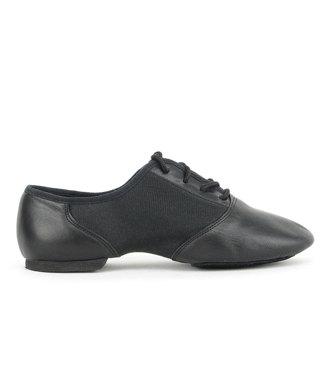 1275 Damen Herren Jazz Tanz Gymnastik Schuhe Leder mit Neopreneinsatz und geteilter Chromledersohle EVA-Absatz Rumpf