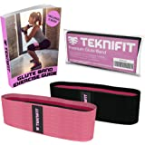 Teknifit Workout Band - Premium Fabric Resistance Band - Non Slip Design for Women - Pink Or Black Booty Band - Free Butt and Leg Toning Exercise Guide (E-Book)