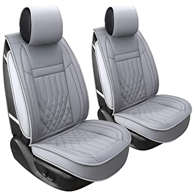 Aierxuan 2 Car Seat Cover Front Seat with Waterproof Leather, Universal Fit for Most Sedan SUV and Truck (2 PCS Front, Grey): Automotive