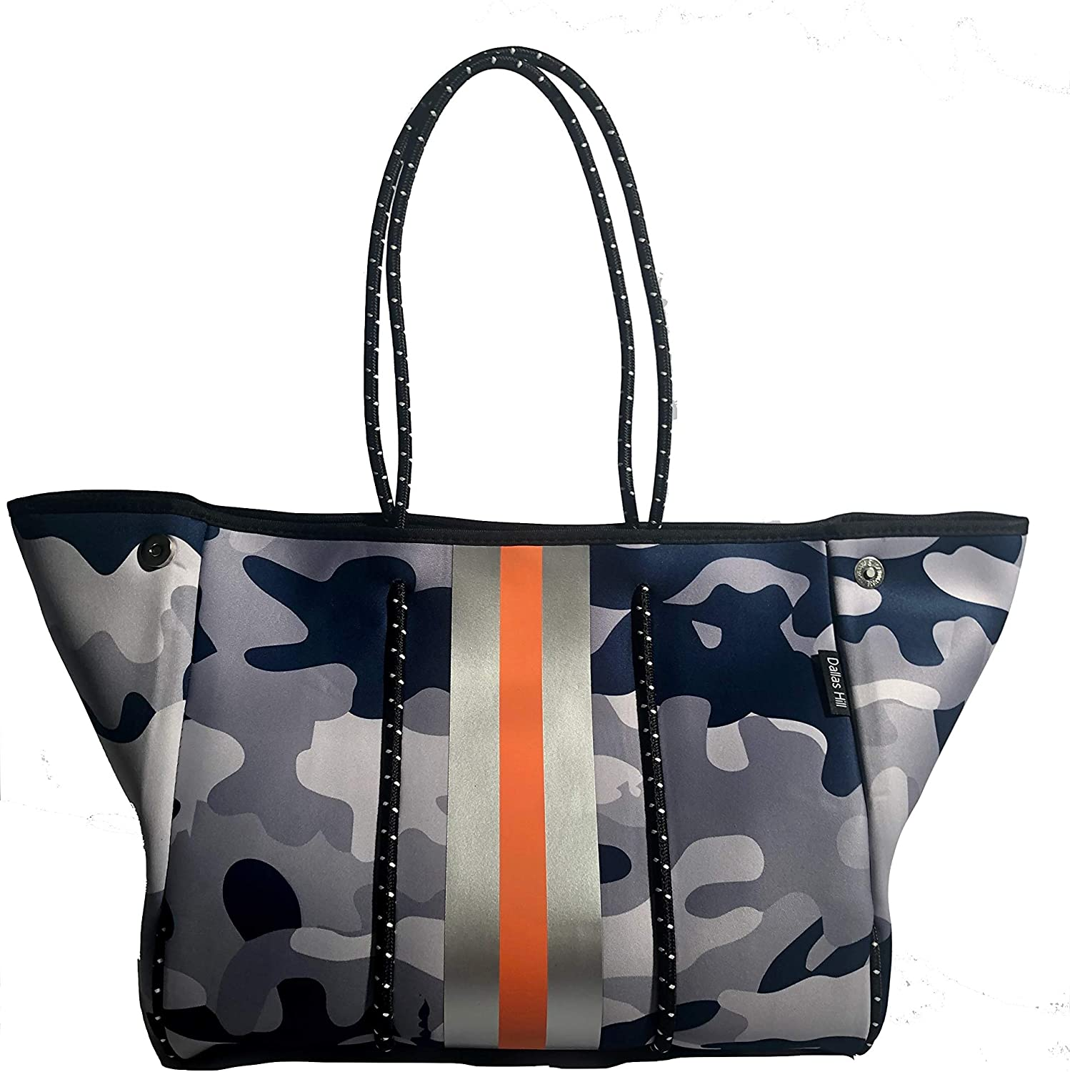 Neoprene Blue Camo Orange Large Beach Tote Womens XLarge Totes Bags Sports Travel Gym Studio Office School Pool Women Teen Girls Family Baby Teacher Bag Catchall by Dallas Hill