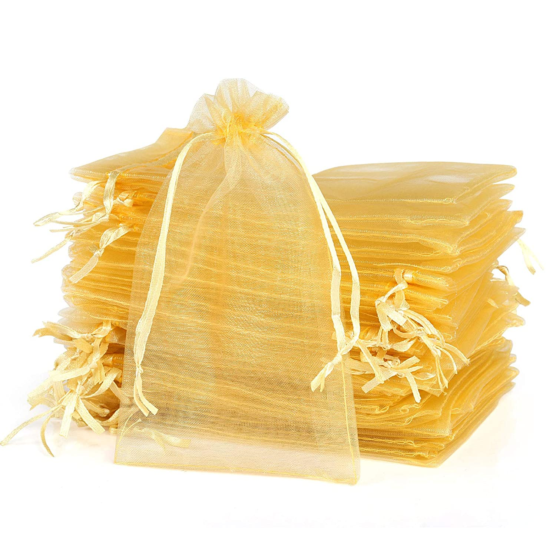 Bomboniere Oro 10 * 15 cm Naler 120 Sacchetti in Organza Sacchetti per Gioielli Buste di Organza per Regalo di Matrimonio