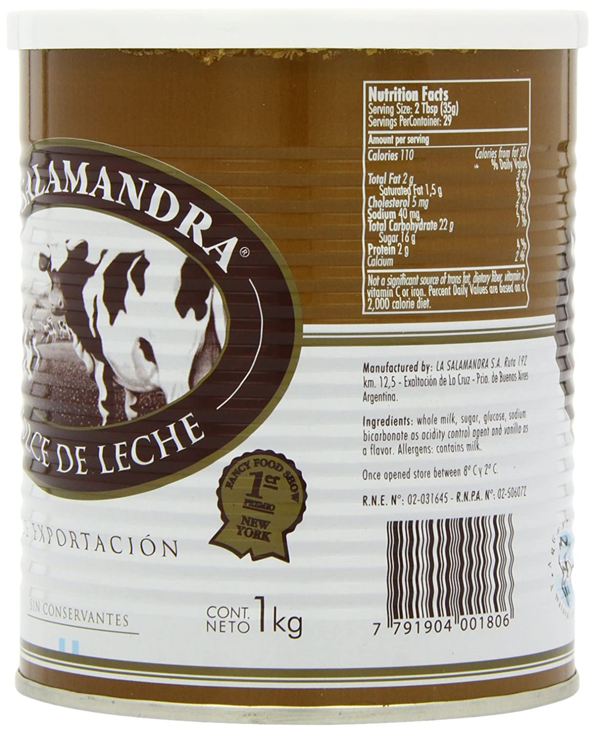 Amazon.com : La Salamandra Dulce de Leche in Tin 1 Kg : Grocery & Gourmet Food