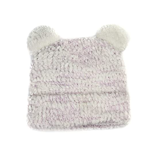 2a816c66c44 Girls Chunky Knit Chenille Marled Fleece Lined Double Fur Pom Cat Ear  Stretch Cuff Beanie-