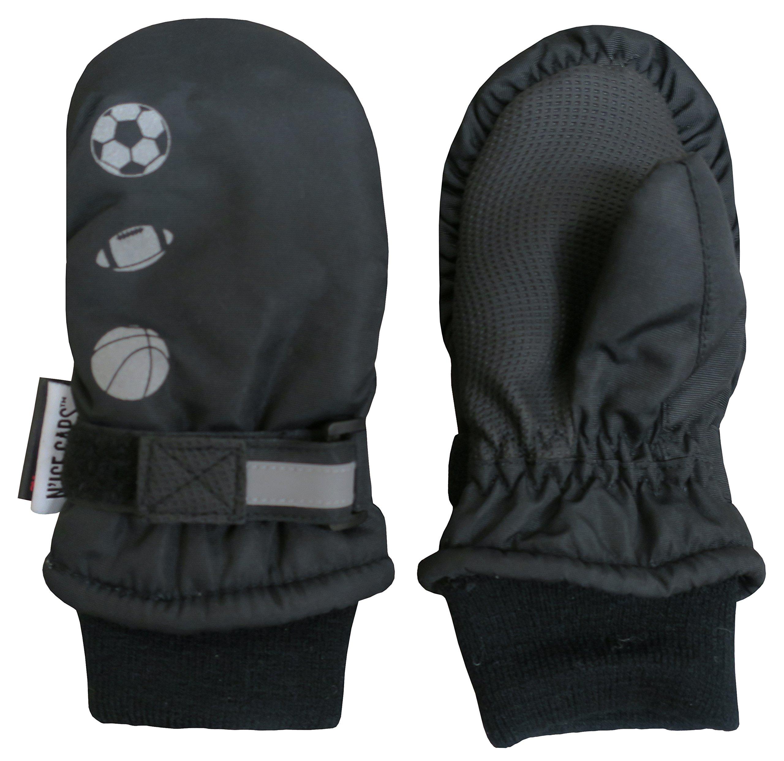 N'Ice Caps Kids Thinsulate Waterproof Reflector Winter Snow Ski Mittens (2-3 Years, Black/Reflector Sports Balls)