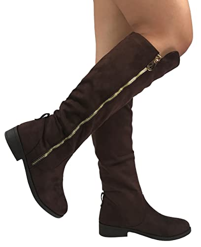 Womens Fiorina Knee High Boots Soft Faux Suede Flat Heel With Side Zipper