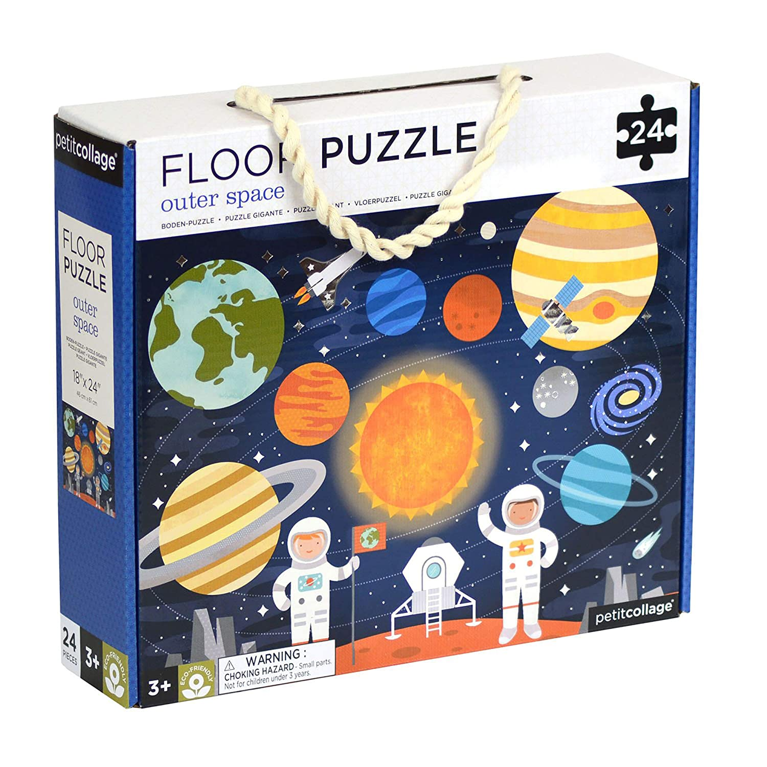 "Petit Collage Floor Puzzle, Outer Space, 24-Pieces – Large Puzzle for Kids, Completed Outer Space Jigsaw Puzzle Measures 18"" x 24"" – Makes a Great Gift Idea for Ages 3+"