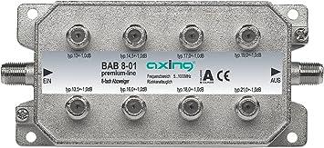 Axing BAB 8-01 - Derivador Acoplador direccional de señal TV con conector de F para TDT radio CATV televisión por cable, 8 salidas (5-1006 MHz)