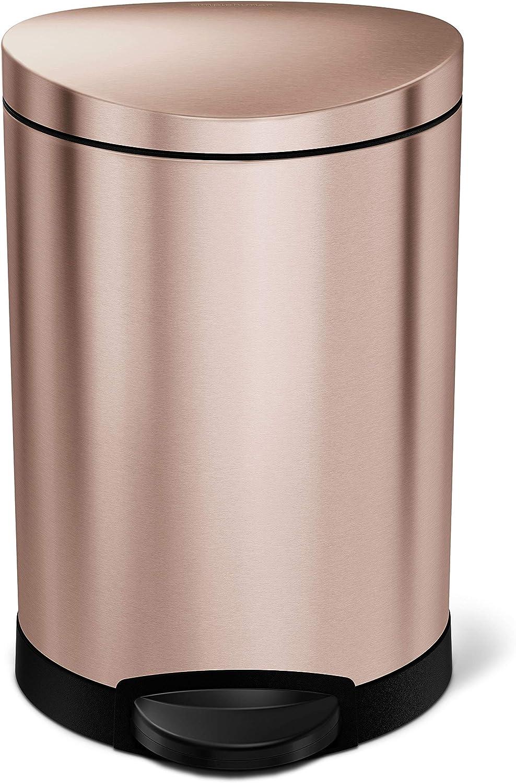 simplehuman, Rose Gold Steel, 6L / 1.59 Gal Semi-round step trash can