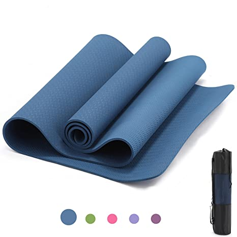 ZELUS TPE Yoga Mat with Yoga Bag - Anti-Tear Eco-friendly Yoga Exercise Mat Thickness 1/4 inch Premium Exercise Mat for Yoga Exercise Workout