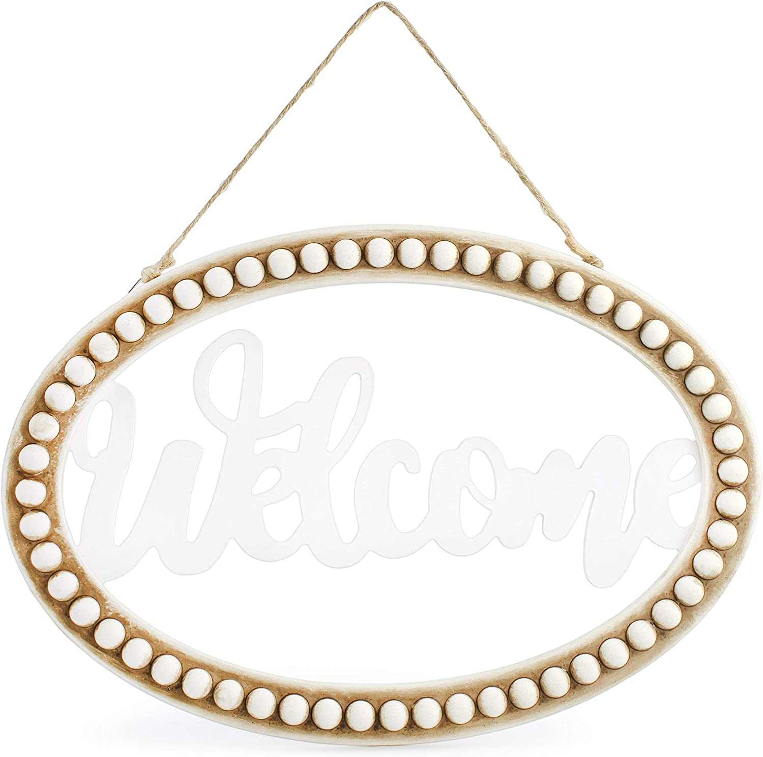 AuldHome Beaded Wooden Welcome Sign, Oval Wood Rustic Farmhouse Wall Decor Plaque, 13 x 9 Inches