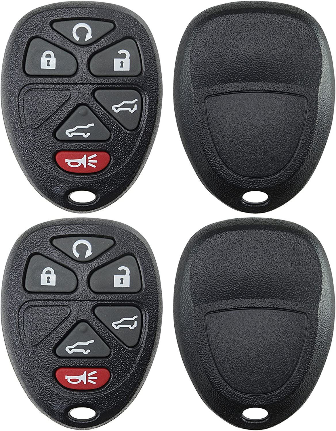 2 KeylessOption Replacement 6 Button Keyless Entry Remote Key Fob Shell Case and Button Pad Black