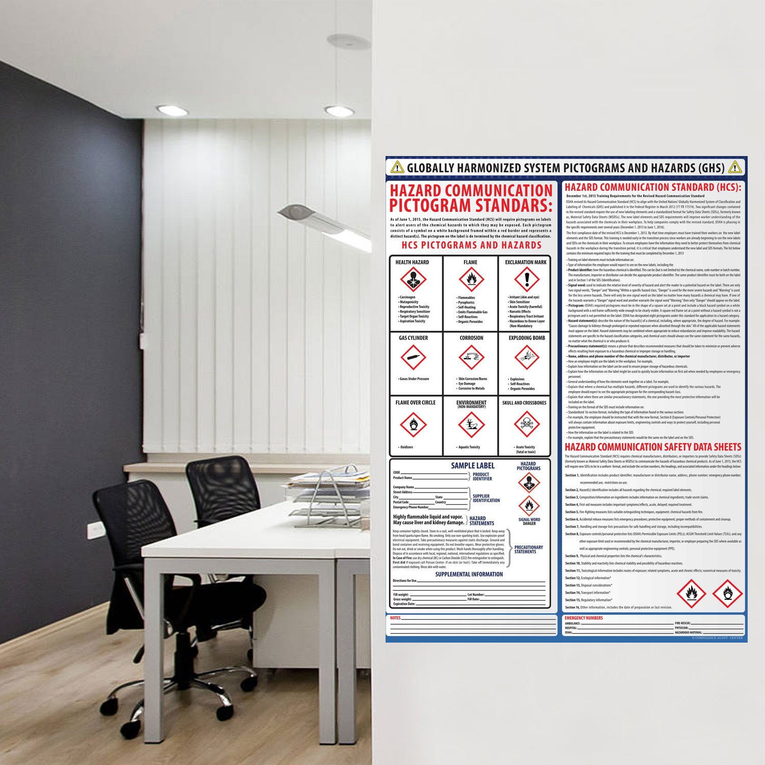 Globally Harmonized System Pictograms and Hazards (GHS) Poster - Laminated 24'' x 24'' by Labor Law Posters (Image #2)