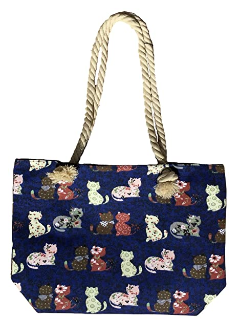 0168721e08f Amazon.com: Canvas Tote Bag - Shoulder Tote, Perfect for School, Work, or  the Beach. Large Compartment - Cats Theme, 17 x 12 (Cats on Blue): Shoes
