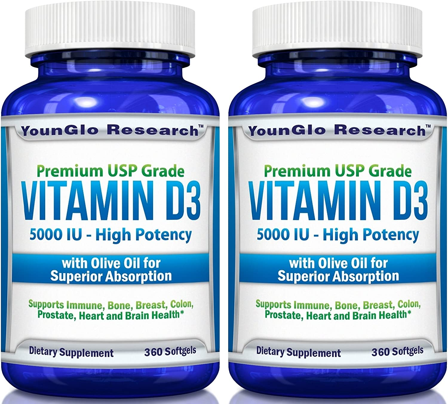 Vitamin D3 5000 IU - in Non GMO Olive Oil - Powerful Health Benefits - 360 Softgels (2 Pack)
