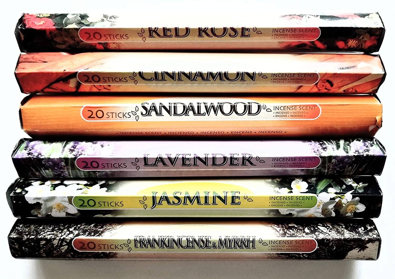 6 Pack Assorted Incense Stick Set Cinnamon Frankincense /& Myrrh and Lavender Sandalwood 120 Sticks -Red Rose Lovely Collection Incense Scent 6 Pack 20 Sticks Each Scent Jasmine