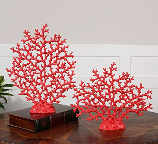 Christmas Tablescape Decor - Bright red fan coral sculptures - Set of 2