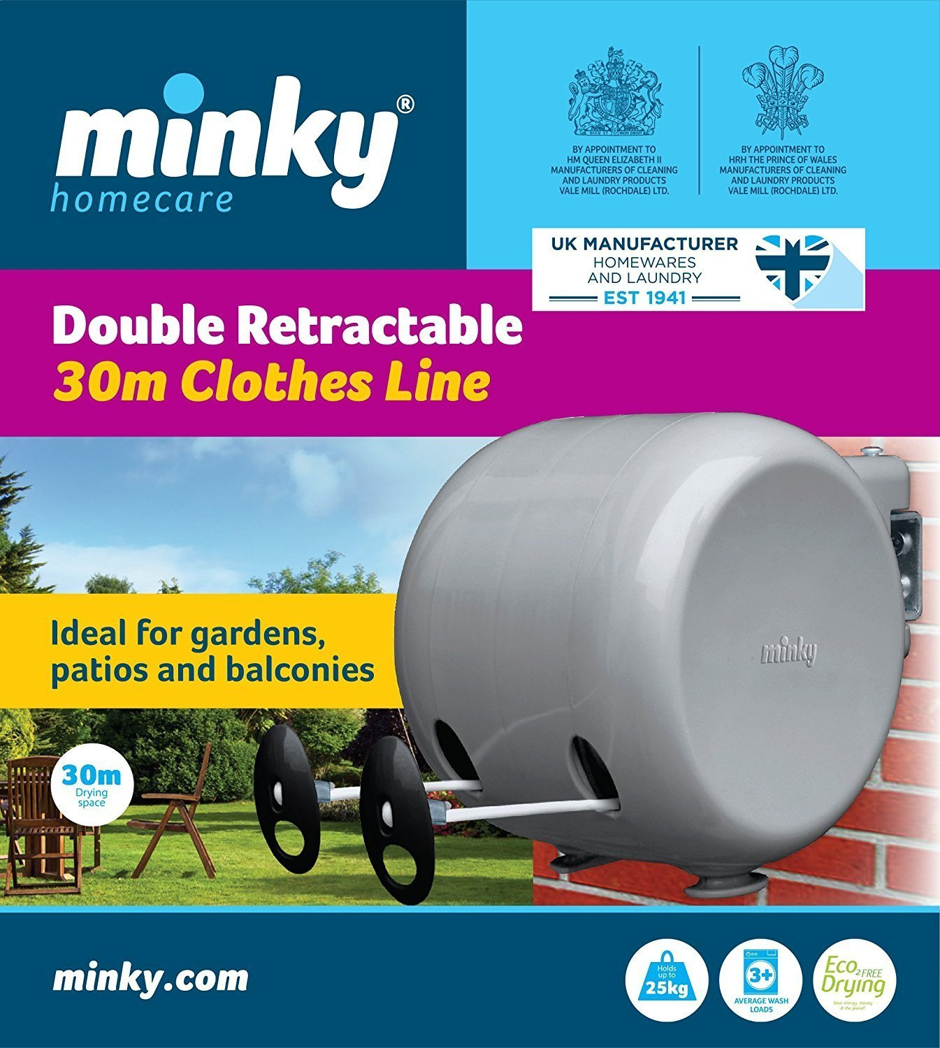 Minky 30m Retractable Reel Clothes Washing Line