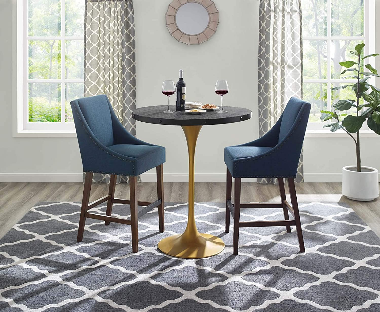 Amazon Com Modway Drive 36 Modern Farmhouse Dining Table With Round Pine Black Wood Top And Gold Steel Base In Black Gold Tables
