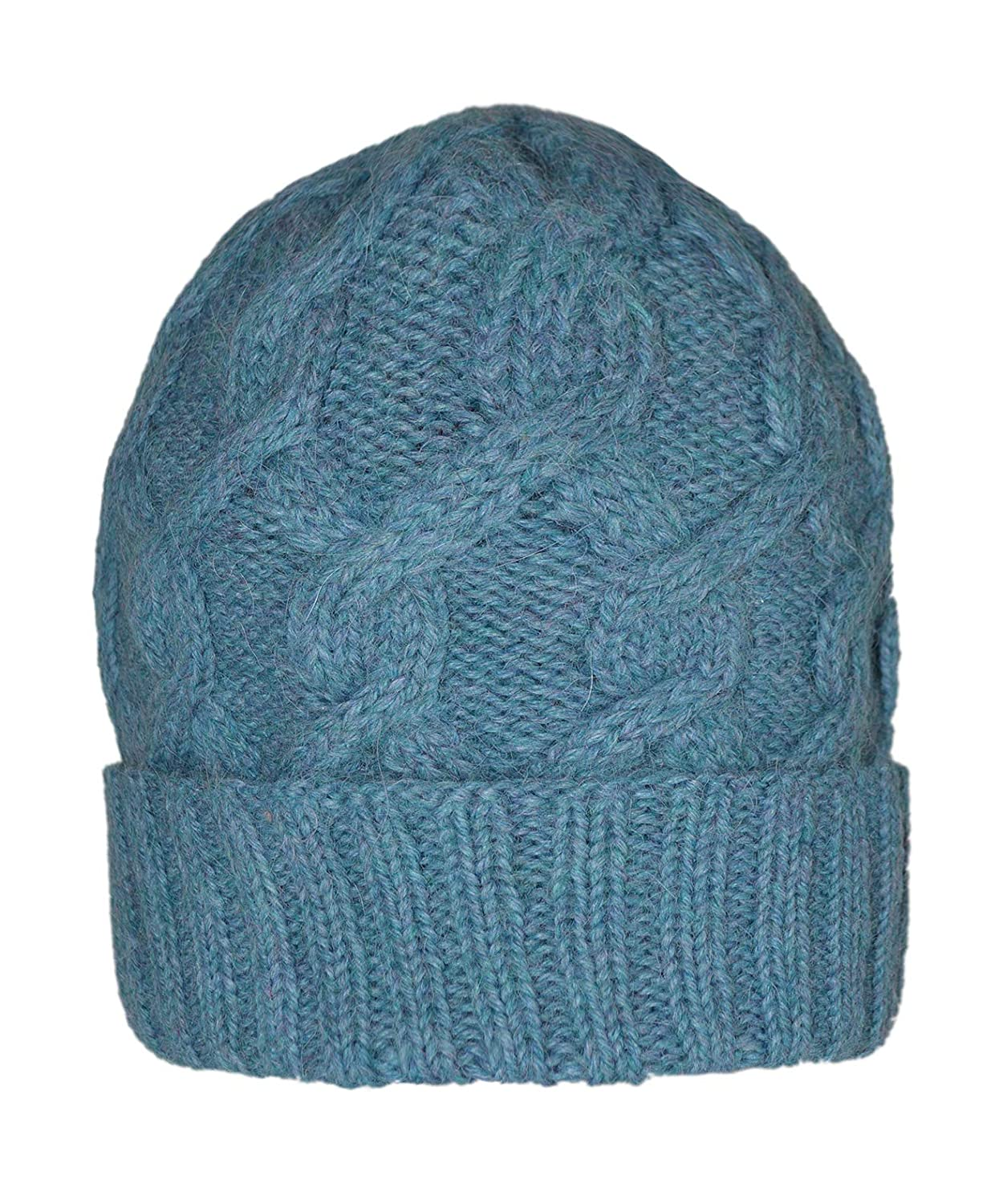 bluee Invisible World Women's 100% Alpaca Wool Hat Knit Winter Beanie Snake Cable Cap